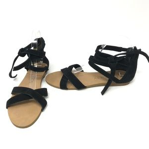 Sole Society Sana Black Suede Strappy Sandals Shoe